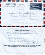 AUSTRALIA - AEROGRAMME 13.6.1962 NARACOORTE TO OULLINS FRANCE - Aérogrammes