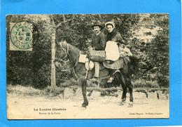 La Lozère Illustrée-retour De Marché-couple Sur Un Cheval-gros Plan Animé- A Voyagé En1905- - France
