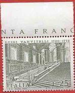 Italia, Italy 1973; Luigi Vanvitelli , Architetto, Architect. Scala Della Reggia Di Caserta. Francobollo Di Bordo. - Monumenti