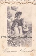 MENU CHAUVET - ILLUSTRATION FEMME ENFANTS 11 X 7 CM - TRUITE CHEVREUIL POULET BRESSE LIEVRE - Menus