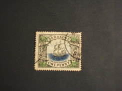 BARBADOS - 1906 VELIERO  1 P.. - TiMBRATO/USED - Barbados (...-1966)