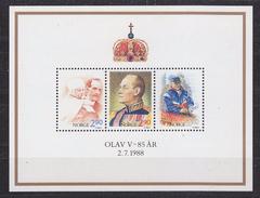Norway 1988 Birthday King Olav (85Y) M/s ** Mnh (34635)