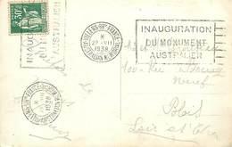 A-17-962 : CARTE POSTALE CACHET INAUGURATION  MONUMENT AUSTRALIEN A VILLERS BRETONNEUX - Marcophilie (Lettres)
