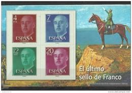 "SPAIN – ERINOFILIA – CINDERELLA - REPRODUCCION – HOJITA ""FRANCO ULTIMO SELLO""-PERFORADOS C - Erinofilia"