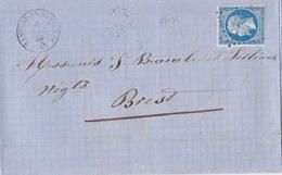 17036# NAPOLEON N° 14 LETTRE Obl HANGEST EN SANTERRE 1859 SOMME Pour BREST FINISTERE BRETAGNE - Marcophilie (Lettres)