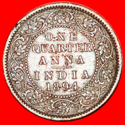 § QUEEN: INDIA ★ 1/4 ANNA 1894! LOW START★ NO RESERVE! Victoria (1837-1901) - India