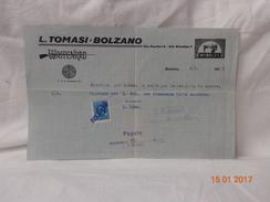 L. TOMASI BOLZANO FATTURA EPOCA 1935 VENDITA MACCHINA DA CUCIRE MUNDLOS - Italia