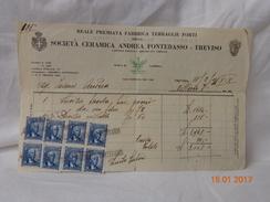 SOCIETA' CERAMICA ANDREA FONTEBASSO TREVISO  FATTURA EPOCA 1941 VENDITA SERVIZIO VITTORIO VENETO - Italia