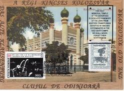 Romania-Israel 2000 Judaica, Cluj Synagogue, Holocaust Memorial Maximum Card+sticker IV - Jewish