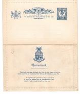 Queensland Australia Postal Stationery Lettercard 2p Victoria Blue Unused Folded - Postal Stationery
