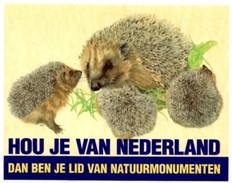 Sticker. Hou Je Van Nederland? - Dan Ben Je Lid Van Natuurmonumenten - Egel - Stickers