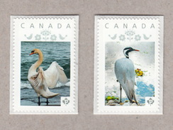 SWAN, CRANE Pair Of Unique Personalized Postage Stamps MNH Canada 2017 [p17-01wb - Cygnes