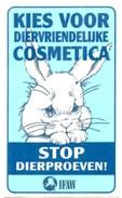 Sticker: Kies Voor Diervriendelijke Cosmetica, Stop Dierproeven. Konijn. Uitgave IFWA - Stickers