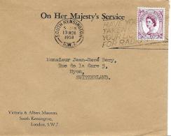 30115 - Enveloppe Envoyée De South Kensington En Suisse 1958 - 1952-.... (Elizabeth II)