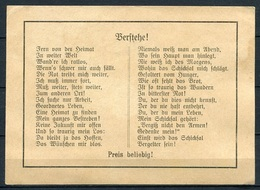 """Soldatengedicht """"Verstehe"""" In Altdeutscher Schrift - 1. Weltkrieg? - Alte Papiere"""