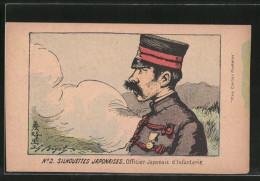 CPA Illustrateur Silhouettes Japonaises, Officier D'Infanterie, Offizier Der Japanischen Infanterie - Militaria