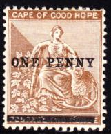 """COGH 1893 1p On 2p No Period After """"PENNY"""". Scott 58b. MH. - Capo Di Buona Speranza (1853-1904)"""