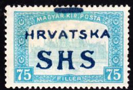 Croatia-Slavonia 1918 75f  Parliament Building (Hungary) Stamp Overprint Shifted. Scott 2L17. MH. - 1919-1929 Kingdom Of Serbs, Croats And Slovenes