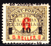 Bosnia & Herzegovina 1918 40h On 6h Postage Due Overprint Shifted. Scott 1LJ23 (listed Under Yugoslavia). MNH. - Bosnia And Herzegovina
