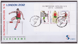Surinam / Suriname 2012 FDC 357c Olympische Spelen Olympic Volleyball Atlectics S/S