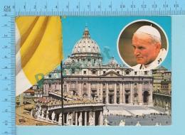 Pape, Papa, Pope - Place Et Basdilique Se St-Pierre De Rome,  Papa Giovanni Poalo II, Pape  Jean Paul II - 2 Scans - Papes
