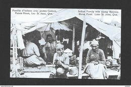 INDIENS AMÉRIQUE DE NORD - FAMILLE D'INDIENS AVEC JEUNES CASTORS POINTE BLEUE - INDIAN FAMILY WITH YOUNG BEAVERS - Indiens De L'Amerique Du Nord