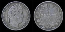 France Louis Philippe I 5 Francs 1846BB - Frankreich