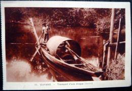 DOM TOM GUYANE MARONI TRANSPORT D'UNE DRAGUE  PIROGUE SUR LE MARONI - Guyane