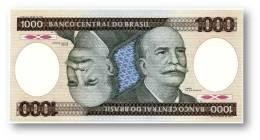 BRASIL - 1000 CRUZEIROS - ND ( 1986 ) - P 201.d - UNC. - Serie 1 - Sign. 22 - Prefix B - Barão Do Rio Branco - Brasil