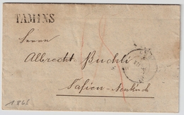 """1866, Graubünden-Stp. """" TAMINS """" , #7037 - Poststempel"""
