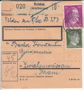 Germany Reich WWII Parcel Card 1941 Velden To Zwischenwassern (Medvode Slovenia) B170115 - Alemania