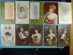 Lot De 10 Cartes Postales Fantaisies Femmes (2) - Women
