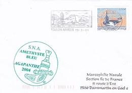 SNA AMETHYSTE BLEU AGAPANTHE 2004 TOULON ARMEES 15/3/04 TIMBRE PA CHARLES DE GAULLE - Marcophilie (Lettres)