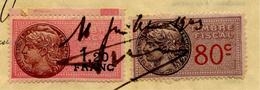 FRANCE Timbre Fiscal 0,80 C. Et 1,20 F. - Timbres Fiscaux Sur Reçu De Notaire De 1943 - Revenue Stamps