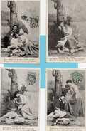 Lot De 4 CPA    Couples, Déjeuner Sur L'herbe, CPA Année 1906   état  Correct  Voir Scannes Recto Verso - Cartoline