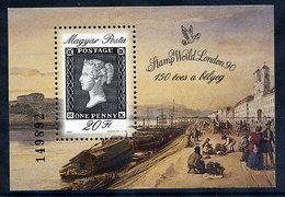 HUNGARY 1990 Stamp Anniversary Block MNH / **.  Michel Block 209 - Hungary