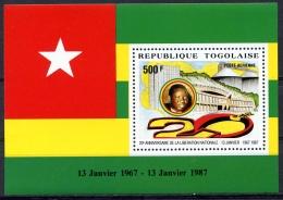 Togo, 1987, Independence, Liberation, Flag, MNH, Michel Block 293 - Togo (1960-...)