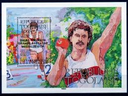Togo, 1985, Olympic Summer Games Los Angeles, Medal Winners, Shot Put, MNH Overprinted, Michel Block 273 - Togo (1960-...)