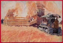 """En L'état Rare Post Card CPSM RUSSIE RUSSIA Publicitaire SOVIETGRAINFARM """"GIGANT"""" * Agriculture Moisson Battage Tracteur - Russie"""