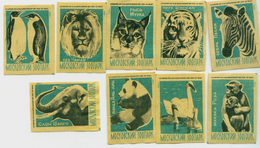 MATCHBOX LABELS RUSSIA CCCP URSS 1960's ZOO ANIMALS IN MOSCOW - Old Paper
