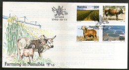 Namibia 1990 Farming & Ranching Irrigation Sheep Cattle Sc 670-3  FDC # 16419 - Agriculture