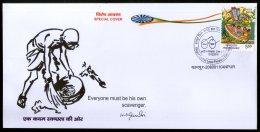 India 2016 Mahatma Gandhi Swaccha Bhatat Clean City KAWNPEX Special Cover # 18481