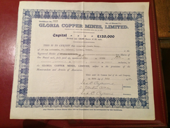 GLORIA   COPPER   MINES  , LIMITED  -------  Titre   De  10   Actions - Bergbau
