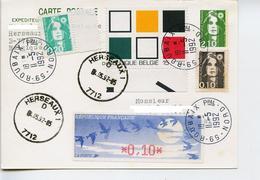 Marcophilie,CP Marianne Briat 2.10,affr.mixte Belgique-France,tableau Forme Geometrique Carré,vignette DIVA - Postwaardestukken