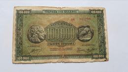 GRECIA 100000 DRACHMAI 1944 - Grèce