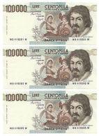 100000 LIRE CARAVAGGIO I TIPO LETTERA D 25/01/1990 FDS-/FDS - [ 2] 1946-… : Repubblica