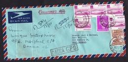 Bangladesh: Registered Airmail Cover To Germany, 1974, 7 Stamps, Fish, Tiger, Jack Fruit Tree, Animals (minor Damage) - Bangladesh