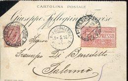 17386 Italia,cart.viagg.1916 Espresso  Da Treviso Per Palermo - Giuseppe Pellegrini Treviso - Italia