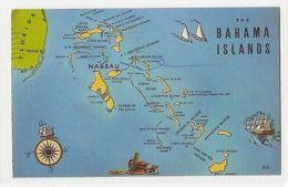BAHAMA ISLANDS - MAP - EDIT BY P.M. LIGHTBOURN NASSAU - STAMP 1960s ( 267 ) - Cartes Postales