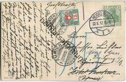 Schweiz - Nachportokarte - 15 Rappen - Heidelberg Nach Zürich 1912 - Lettres & Documents